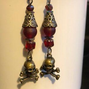 💀Skull Czech glass brass earrings handcrafted